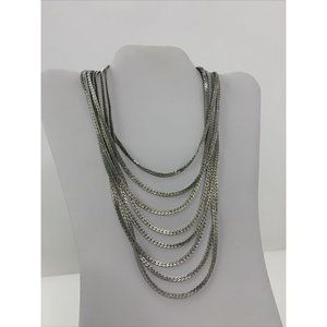 Vintage 1980s Monet Multi Strand Silver Necklace